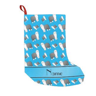 Custom name sky blue Old English Sheepdog dogs Small Christmas Stocking