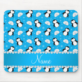 Custom name sky blue penguins igloos snowflakes mouse pad