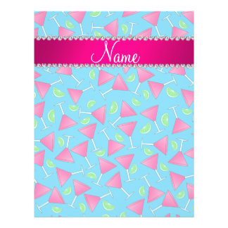 """Custom name sky blue pink cosmos limes 8.5"""" x 11"""" flyer"""