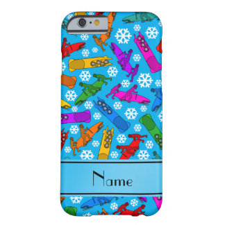 Custom name sky blue rainbow bobsleigh snowflakes barely there iPhone 6 case