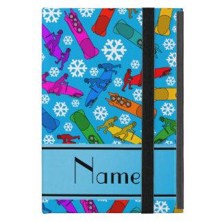 Custom name sky blue rainbow bobsleigh snowflakes iPad mini case