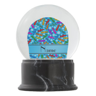 Custom name sky blue rainbow bobsleigh snowflakes snow globe