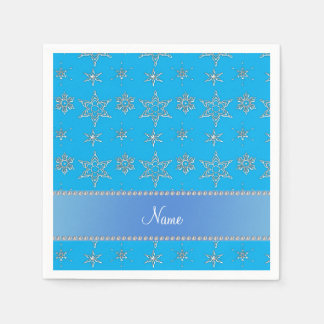 Custom name sky blue silver snowflakes blue stripe disposable napkins