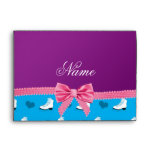 Custom name sky blue skates hearts pink bow envelopes