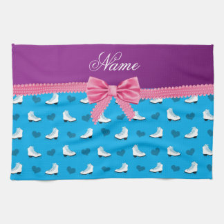 Custom name sky blue skates hearts pink bow hand towel