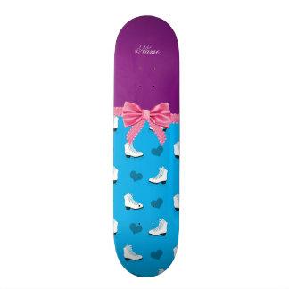 Custom name sky blue skates hearts pink bow skate board deck