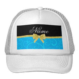 Custom name sky blue swirls gold glitter bow mesh hats