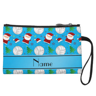 Custom name sky blue volleyball christmas pattern wristlet clutches