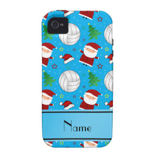 Custom name sky blue volleyball christmas pattern iPhone 4/4S case