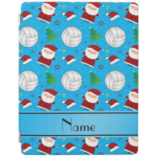 Custom name sky blue volleyball christmas pattern iPad cover