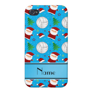 Custom name sky blue volleyball christmas pattern iPhone 4/4S cases