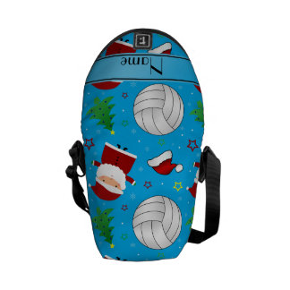 Custom name sky blue volleyball christmas pattern messenger bags