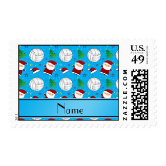 Custom name sky blue volleyball christmas pattern stamps