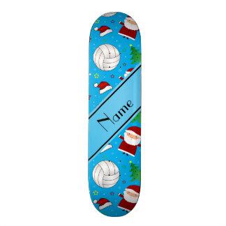 Custom name sky blue volleyball christmas pattern skate board decks