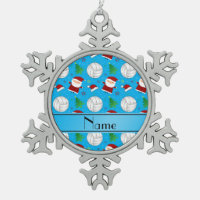 Custom name sky blue volleyball christmas pattern snowflake pewter christmas ornament