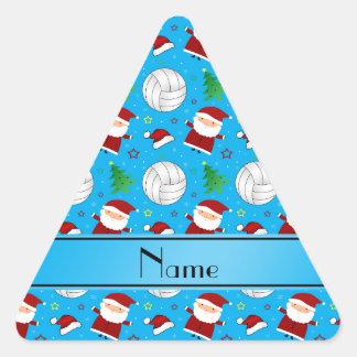 Custom name sky blue volleyball christmas pattern triangle sticker
