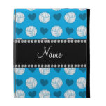 Custom name sky blue volleyballs and hearts iPad cases