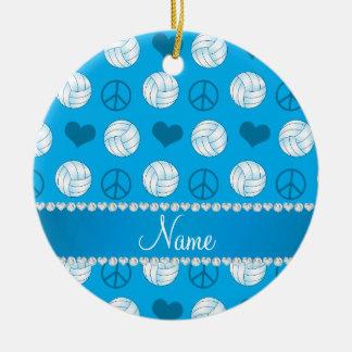 Custom name sky blue volleyballs peace hearts ceramic ornament