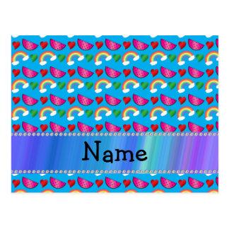 Custom name sky blue watermelons rainbows hearts post cards