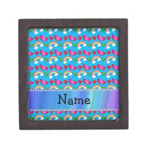 Custom name sky blue watermelons rainbows hearts premium gift box