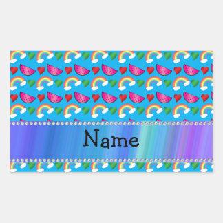 Custom name sky blue watermelons rainbows hearts sticker