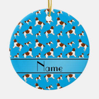 Custom name sky blue Welsh Springer Spaniel dogs Ceramic Ornament