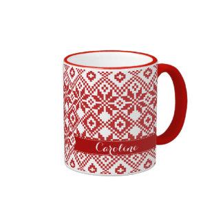 Custom Name Snowflake Pattern Christmas Gift Mugs