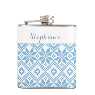 Custom Name Snowflake Pattern Gift Flasks