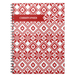 Custom Name Snowflake Pattern Gift Notebooks