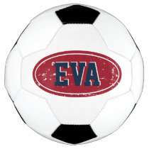 Custom name soccer ball gift with colored logo