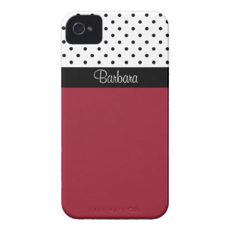 Custom Name Spicy Red, White & Black Polka Dots iPhone 4 Case-Mate Case