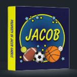 """Custom Name Sporty Boys Binder<br><div class=""""desc"""">Fun sports-themed design with his name personalized right in the center! Please note: this design works best with shorter names. If you need any assistance customizing this product,  please contact me and I&#39;ll be happy to assist you.</div>"""