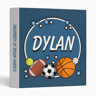 Custom Name Sporty Boys Binder