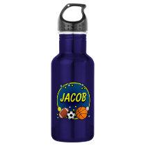 Custom Name Sporty Boys Stainless Steel Water Bottle