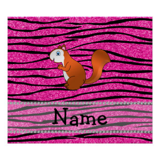 Custom name squirrel pink glitter zebra stripes poster