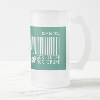 Custom Name St. Patrick's Day Fun Gift Beer Mugs Frosted Glass Mug