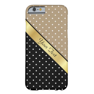 Custom Name Starfish Brown Black &White Polka Dots Barely There iPhone 6 Case