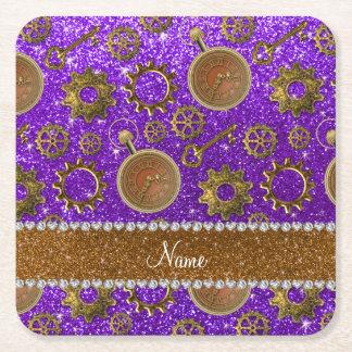 Custom name steampunk indigo purple glitter square paper coaster