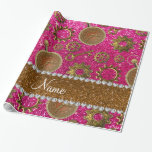 Custom name steampunk neon hot pink glitter wrapping paper