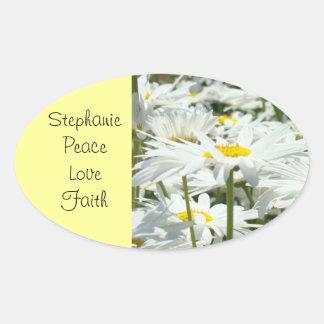 Custom name stickers Peace Love Faith Daisy Flower