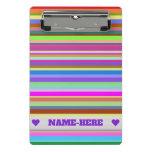 [ Thumbnail: Custom Name + Stripes of Various Colors Clipboard ]