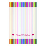 [ Thumbnail: Custom Name + Stripes of Various Colors Stationery ]
