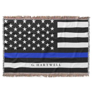 Custom Name Stylized Police American Flag Throw