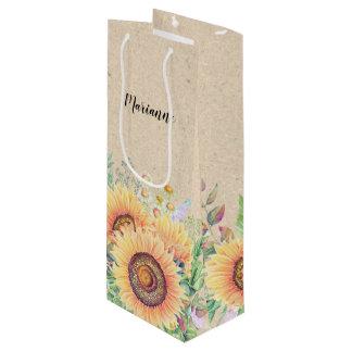 Custom Name   Sunflower Craft Paper Wine Bags