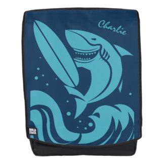 Custom Name Surfer Shark backpack