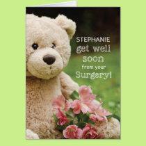 Custom Name Surgery Recovery, Teddy Bear & Flowers Card