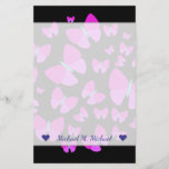 [ Thumbnail: Custom Name + Swarm of Artistic Butterflies Stationery ]