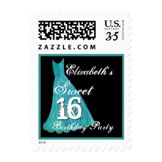 CUSTOM NAME Sweet 16 Birthday - AQUA BLUE Dress Postage