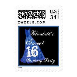 CUSTOM NAME Sweet 16 Birthday - BLUE Dress Postage Stamp
