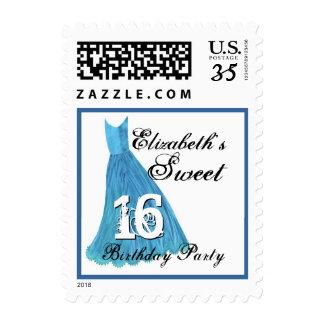 CUSTOM NAME Sweet 16 Birthday - BLUE Dress Postage